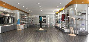 modélisation d'une vue 3D de l'intérieur d'un magasin de vêtements
