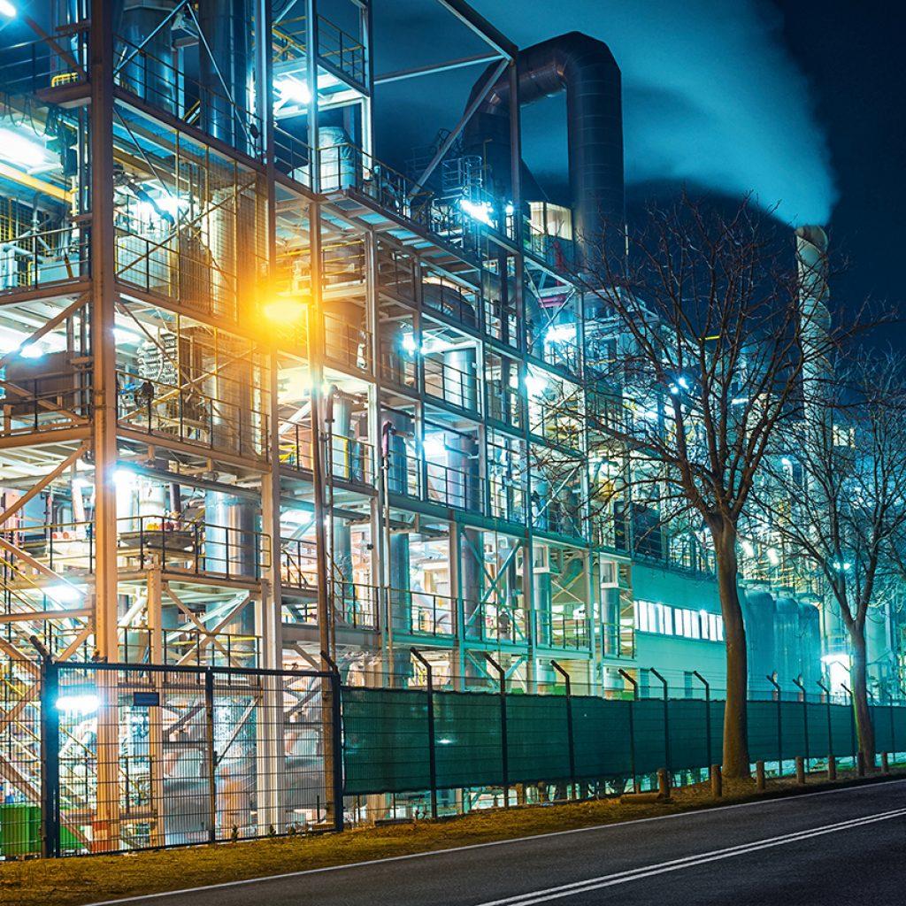 photo industrie de nuit