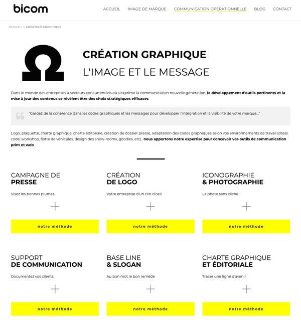 page création graphique bicom.fr